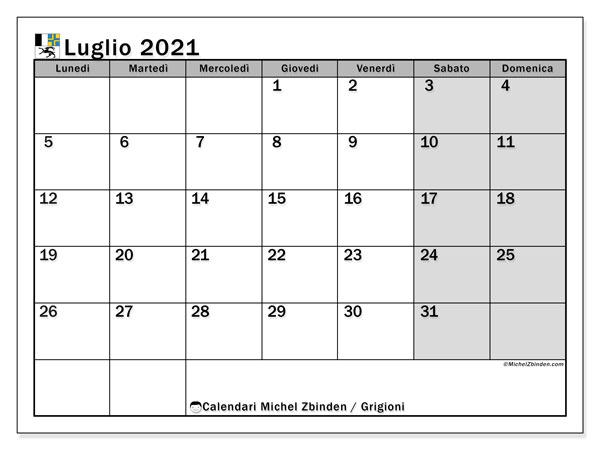 Calendario luglio 2021, con giorni festivi dei Grigioni. Calendario Vacanze e festività per stampare gratuitamente.