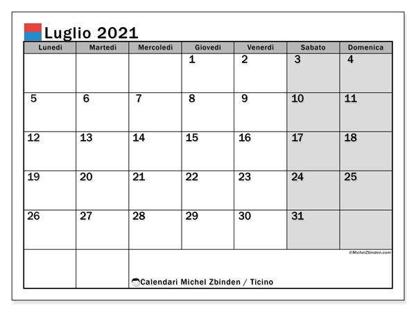 Calendario luglio 2021, con giorni festivi in Ticino. Calendario da stampare gratuita con giorni festivi.