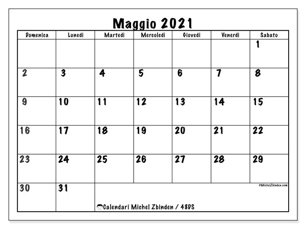 "Calendario ""48DS"" maggio 2021 da stampare   Michel Zbinden IT"