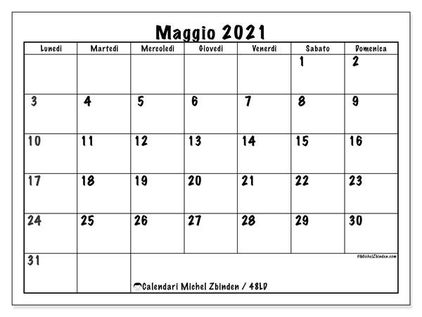 """Calendario """"48LD"""" maggio 2021 da stampare   Michel Zbinden IT"""