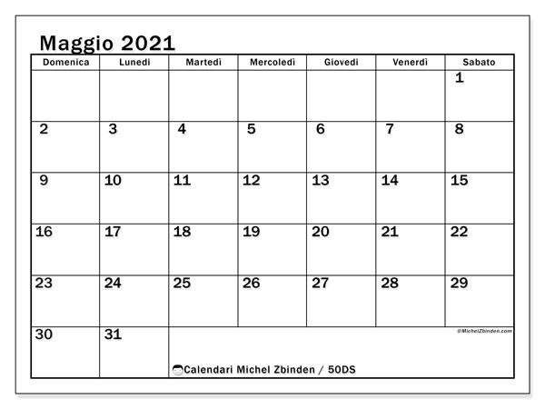 Calendario maggio 2021, 50DS. Orario da stampare gratis.