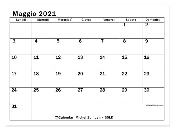 Calendario maggio 2021, 50LD. Calendario stampabile gratuito.