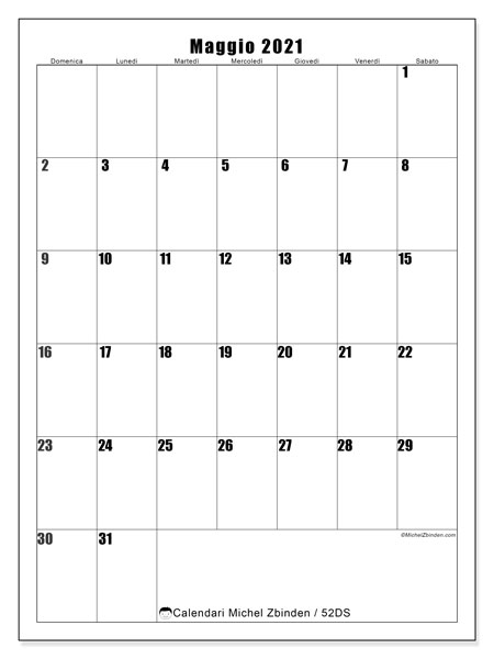 Calendario maggio 2021, 52DS. Calendario da stampare gratis.