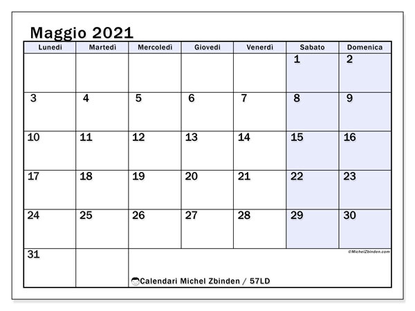 Calendario maggio 2021   57LD   Michel Zbinden IT
