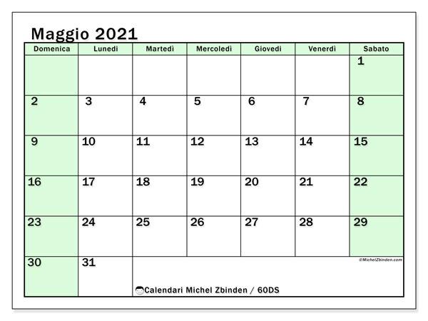 Calendario maggio 2021, 60DS. Calendario da stampare gratis.