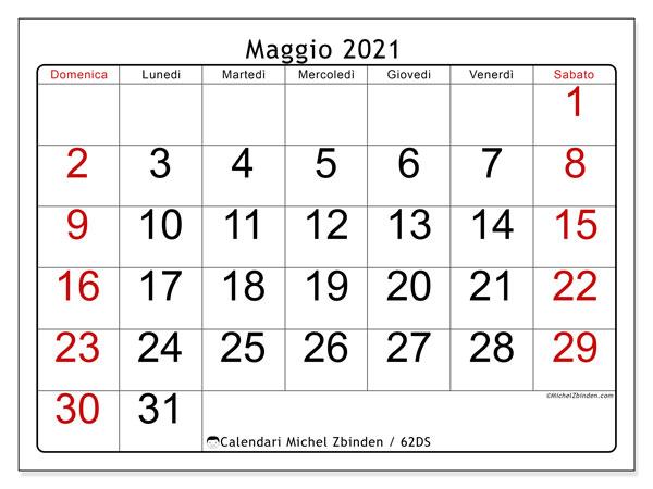 Calendario maggio 2021, 62DS. Orario da stampare gratis.