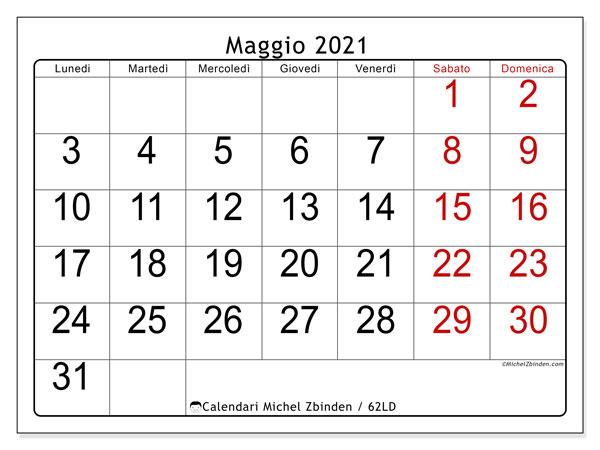"""Calendario """"62LD"""" maggio 2021 da stampare   Michel Zbinden IT"""