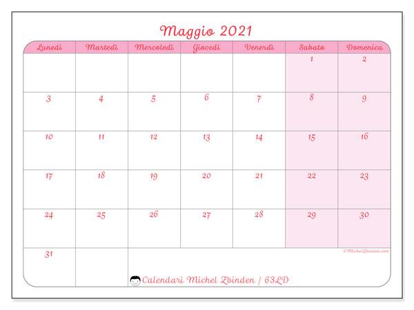 Calendario maggio 2021, 63LD. Calendario gratuito da stampare.