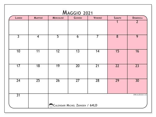 Calendario maggio 2021, 64LD. Calendario per il mese da stampare gratuitamente.