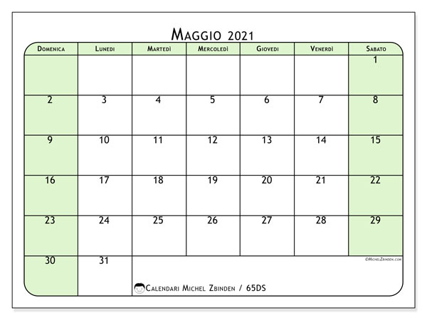 Calendario maggio 2021, 65DS. Calendario per il mese da stampare gratuitamente.