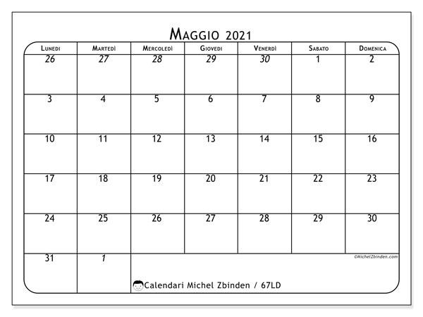 Calendario maggio 2021, 67LD. Calendario da stampare gratis.