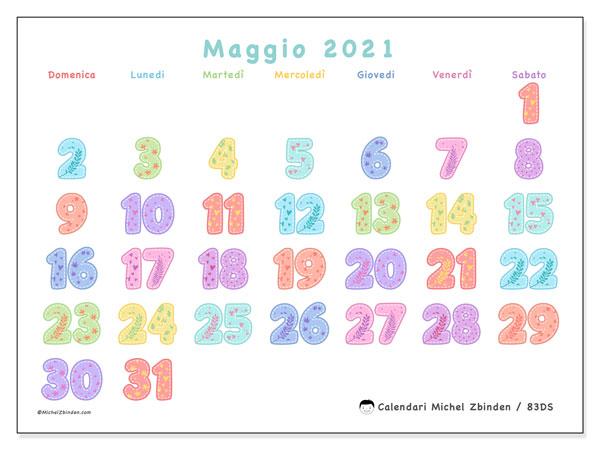 Calendario maggio 2021, 83DS. Calendario mensile da stampare gratuitamente.