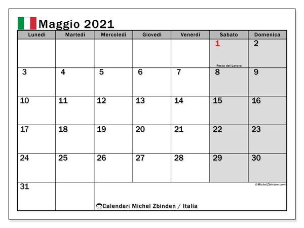 Calendario maggio 2021, con giorni festivi in Italia. Calendario da stampare gratuita con giorni festivi.