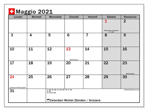 Calendario maggio 2021, con giorni festivi della Svizzera. Calendario da stampare gratuita con giorni festivi.