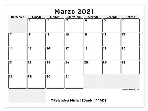 Calendari marzo 2021 (DS).  44DS.