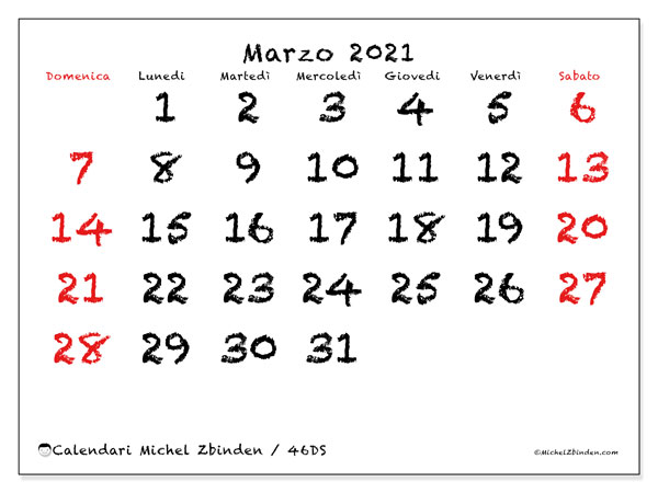 Calendari marzo 2021 (DS).  46DS.