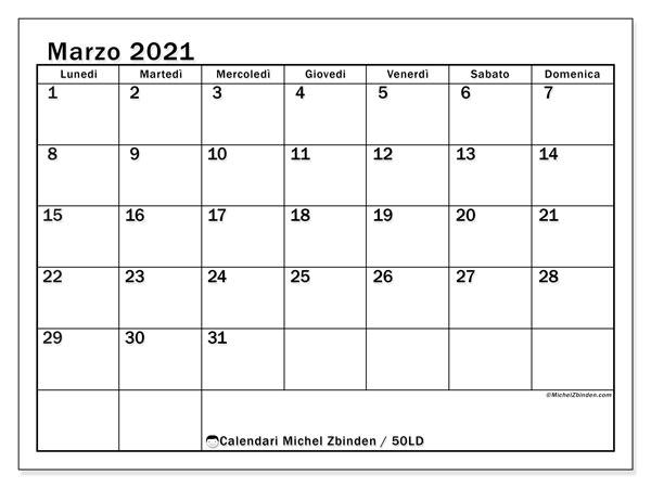 Calendario marzo 2021, 50LD. Calendario da stampare gratis.