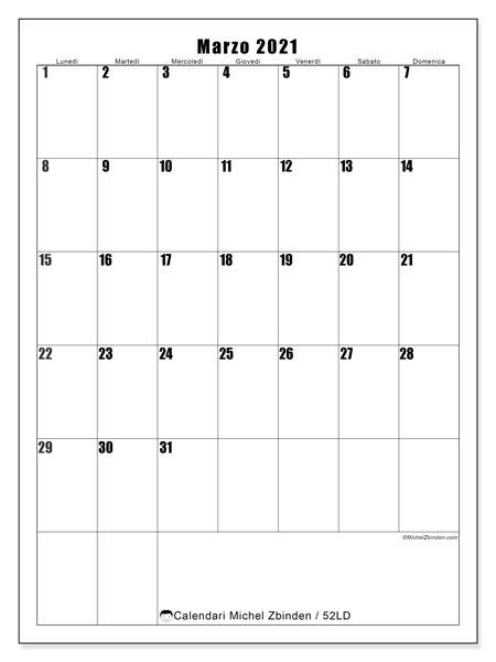 Calendario marzo 2021, 52LD. Calendario per la stampa gratis.