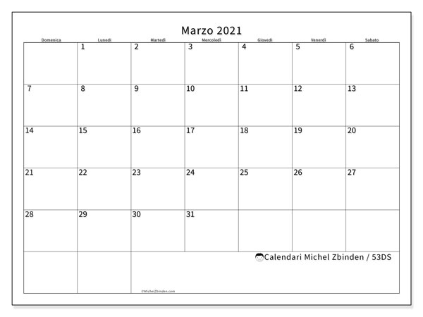Calendari marzo 2021 (DS).  53DS.
