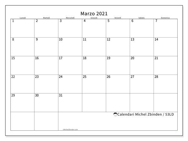 """Calendario """"53LD"""" marzo 2021 da stampare   Michel Zbinden IT"""
