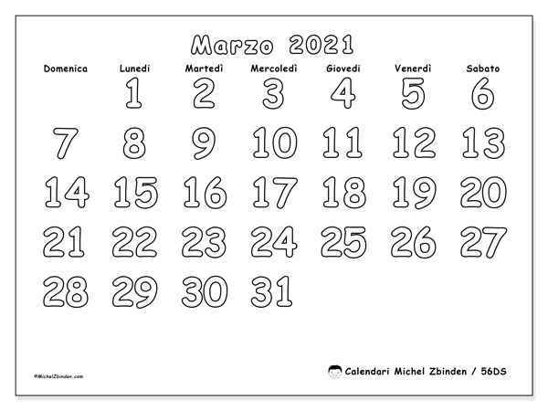 Calendari marzo 2021 (DS).  56DS.