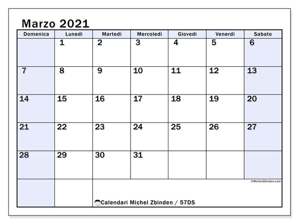 Calendari marzo 2021 (DS).  57DS.