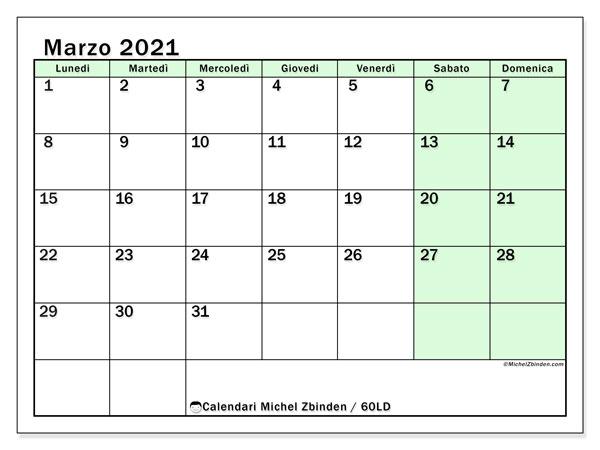 Calendario marzo 2021, 60LD. Calendario gratuito da stampare.