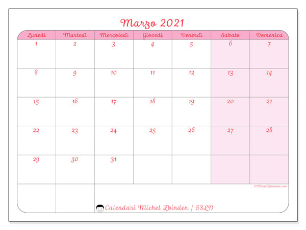 Calendario marzo 2021, 63LD. Calendario per la stampa gratis.