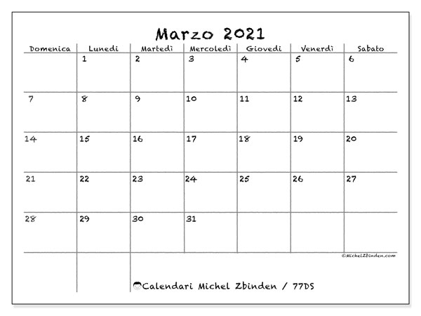 Calendari marzo 2021 (DS).  77DS.