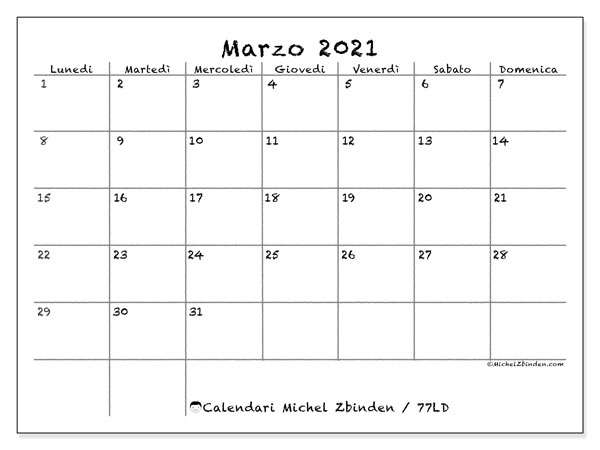 "Calendario ""77LD"" marzo 2021 da stampare   Michel Zbinden IT"