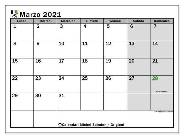 Calendario marzo 2021, con giorni festivi dei Grigioni. Calendario da stampare gratuita con giorni festivi.