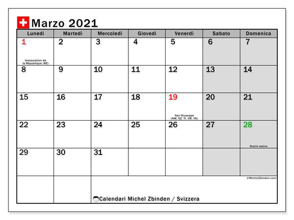 Calendario marzo 2021, con giorni festivi della Svizzera. Calendario Vacanze e festività per stampare gratuitamente.