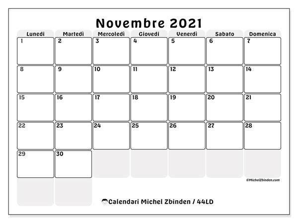 Calendario novembre 2021   44LD   Michel Zbinden IT