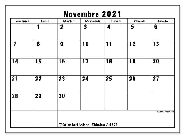 Calendario novembre 2021, 48DS. Calendario per la stampa gratis.