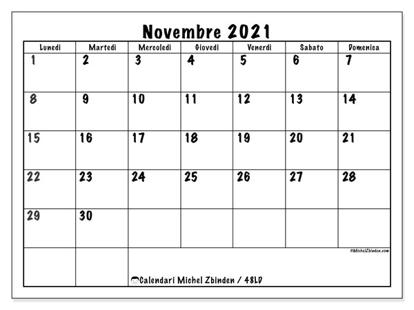 "Calendario ""48LD"" novembre 2021 da stampare   Michel Zbinden IT"