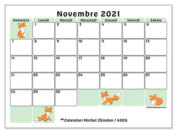 Calendario novembre 2021, 49DS. Calendario gratuito da stampare.