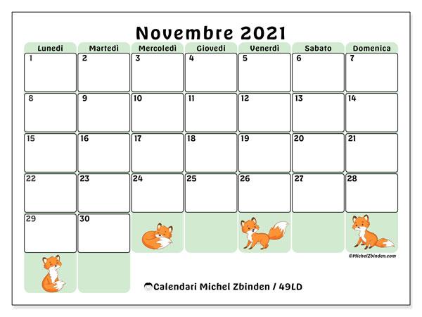 """Calendario """"49LD"""" novembre 2021 da stampare   Michel Zbinden IT"""