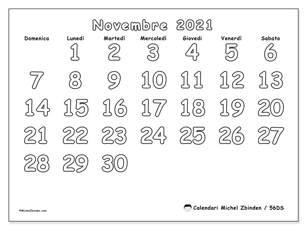 "Calendario Da Colorare Novembre 2021 Calendario ""56DS"" novembre 2021 da stampare   Michel Zbinden IT"