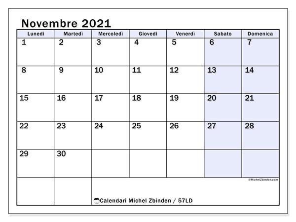 Calendario novembre 2021, 57LD. Calendario gratuito da stampare.