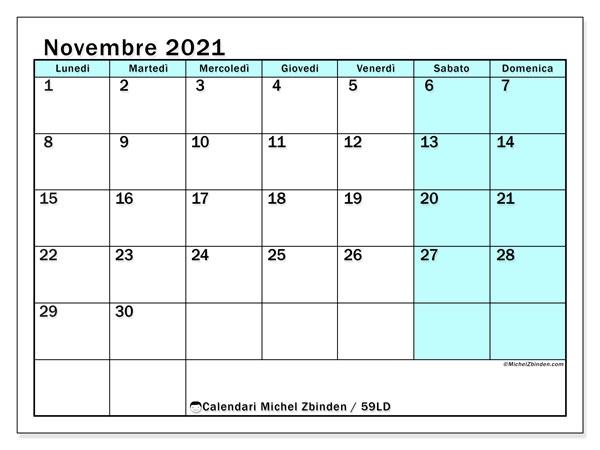 Calendario novembre 2021, 59LD. Calendario per il mese da stampare gratuitamente.