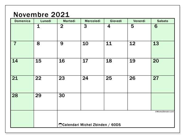 Calendario novembre 2021, 60DS. Orario da stampare gratis.