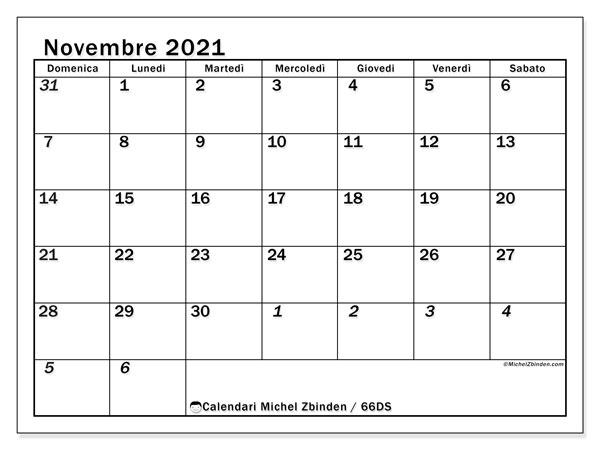 Calendario novembre 2021, 66DS. Orario da stampare gratis.
