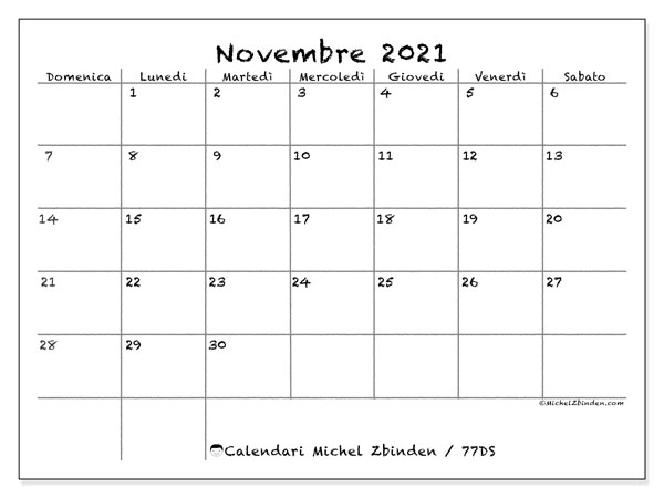 "Calendario ""77DS"" novembre 2021 da stampare   Michel Zbinden IT"
