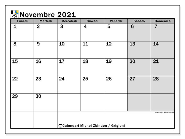 Calendario novembre 2021, con giorni festivi dei Grigioni. Calendario da stampare gratuita con giorni festivi.