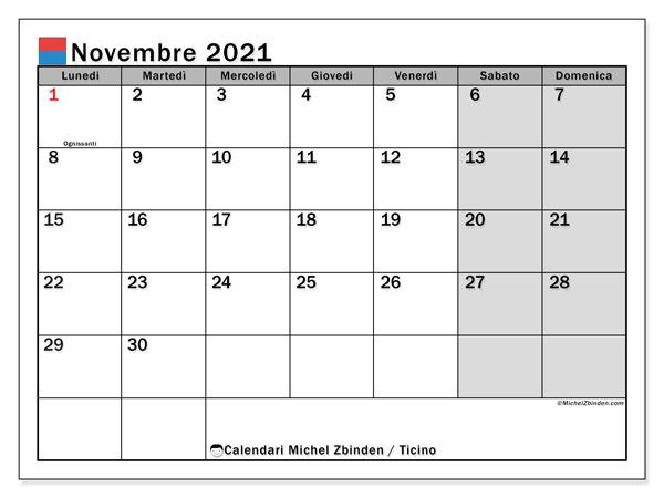 Calendario novembre 2021, con giorni festivi in Ticino. Calendario da stampare gratuita con giorni festivi.