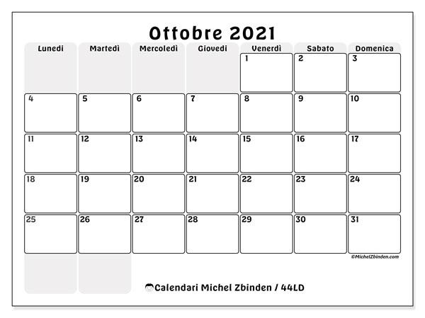 Calendario ottobre 2021, 44LD. Calendario stampabile gratuito.