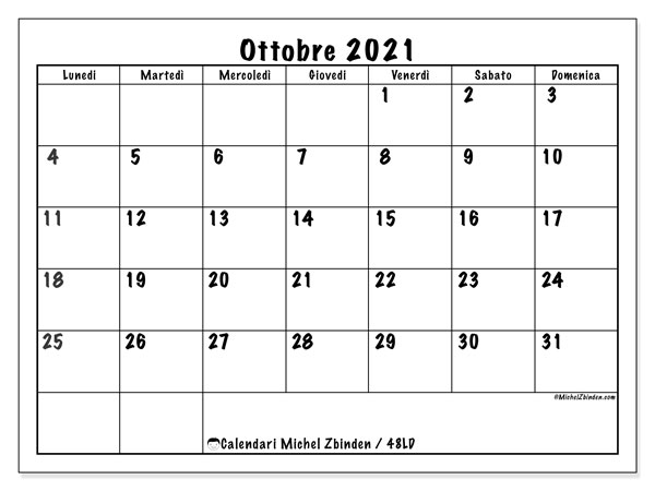 "Calendario ""48LD"" ottobre 2021 da stampare   Michel Zbinden IT"
