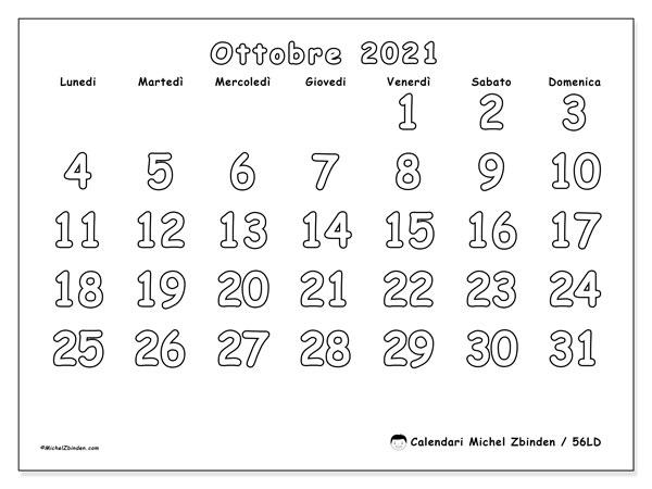 Calendario ottobre 2021, 56LD. Calendario gratuito da stampare.