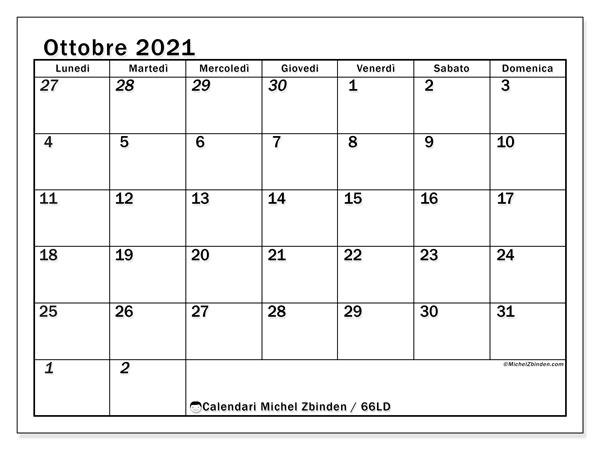 Calendario ottobre 2021, 66LD. Orario da stampare gratis.