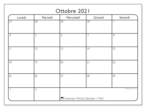 Calendario ottobre 2021, 74DS. Calendario da stampare gratis.
